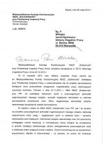 """wniosek MKK NSZZ """"Solidarność"""" przy PIP - str. 1 z 4"""